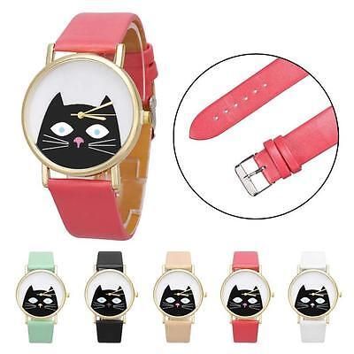 2015 Fashion Women Watch UNISEX Leather Band Cat Analog Quartz Dial Wrist Watch