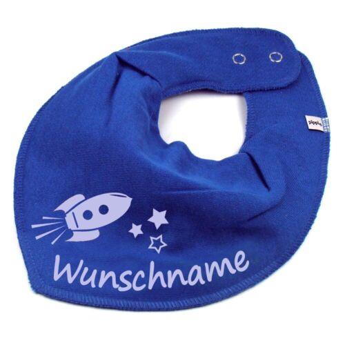 HALSTUCH Rakete mit Namen oder Text personalisiert für Baby oder Kind Farbwahl