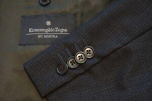 Ermenegildo Zegna Su Misura Traveler Gray Microplaid Wool 2 Pc Suit Sz 46R