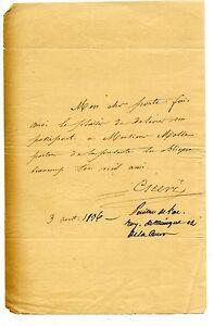 Lettre du peintre Cicéri - 1836 - Passeport Monsieur Mosse - France - État : Occasion: Objet ayant été utilisé. Consulter la description du vendeur pour avoir plus de détails sur les éventuelles imperfections. ... - France
