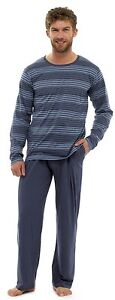 Mens-Long-Sleeve-Round-Neck-Striped-T-Shirt-amp-Trousers-Summer-Pyjama-Set