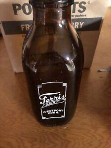 Vintage-Ferris-Dairy-Milk-Bottle-Brown-Glass-1-Quart-Westport-Connecticut-Mint