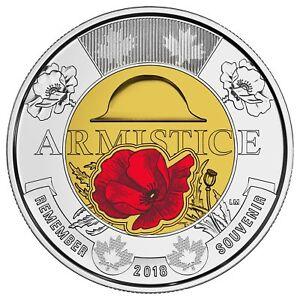 2018-Canada-2-Armistice-Poppy-BU-Coloured-Toonie-From-Special-Wrap-Roll-Coin