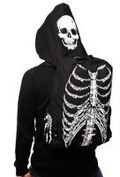 Banned Skeleton Skull Ribcage Gothic Backpack W/ Zip Hood Rucksack Waterproof