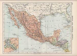 Panama Mexico Map.1923 Map Mexico Central America Guatemala Honduras Inset
