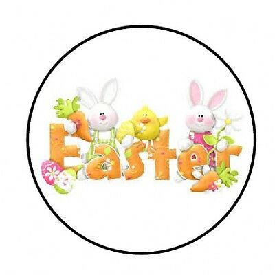 """48 EASTER BUNNY FACE ENVELOPE SEALS LABELS STICKERS 1.2/"""" ROUND"""