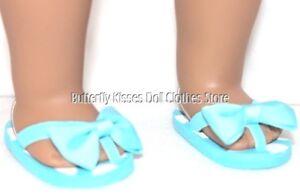 Flip-Flops-Aqua-Blue-Polka-Dot-Bow-18-in-Doll-Clothes-Fits-American-Girl