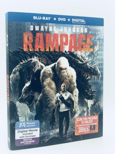 Rampage (Blu-ray + Dvd + Digital, 2018; 2 Discos) Nuevo con SLIPCOVER Dwayne Johnson