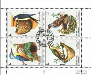 Sharjah-1308-1311-Sheetlet-complete-issue-used-1972-Birds