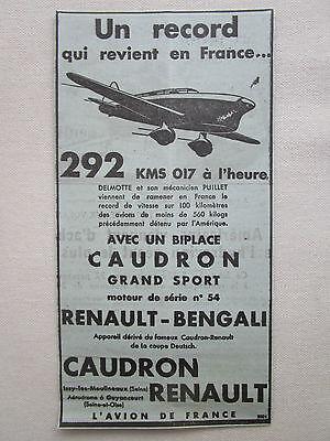 1924 PUB CAUDRON CROTOY AVION HYDRAVION MONACO MONT BLANC POIREE DURAFOUR AD