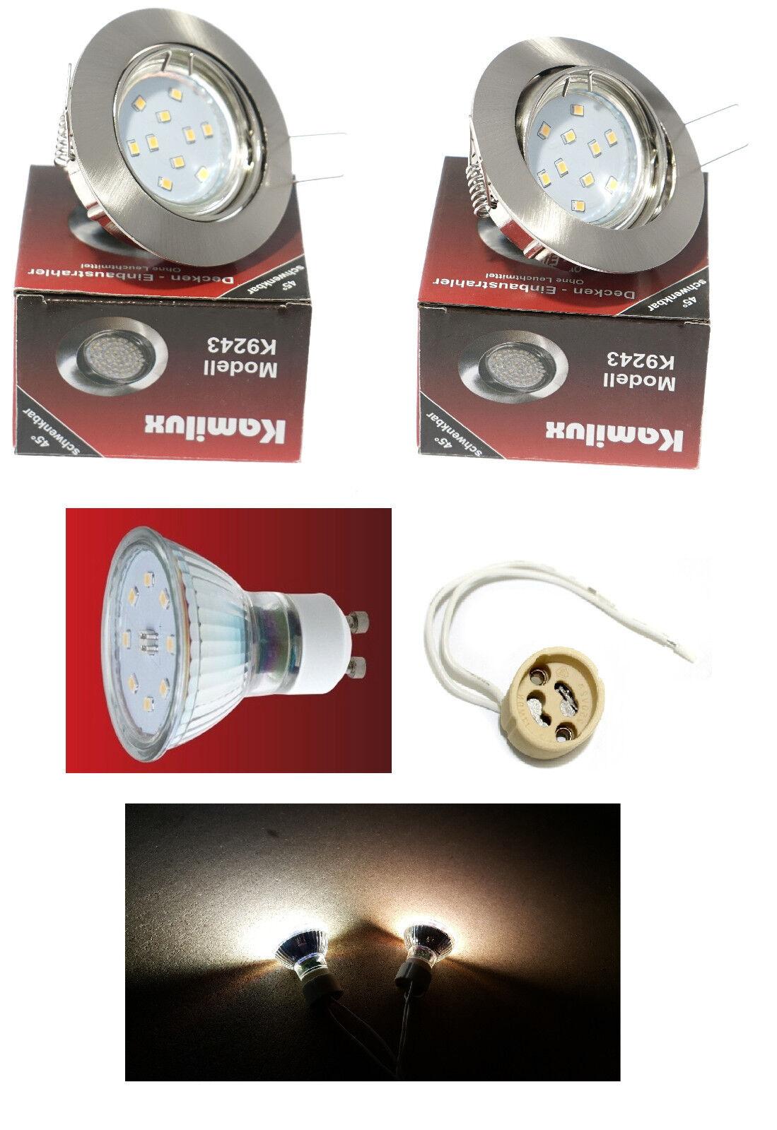 SMD LED Einbaustrahler Set Lisa Edelstahl geb 5W = 50W schwenkbar 230V IP20 GU10