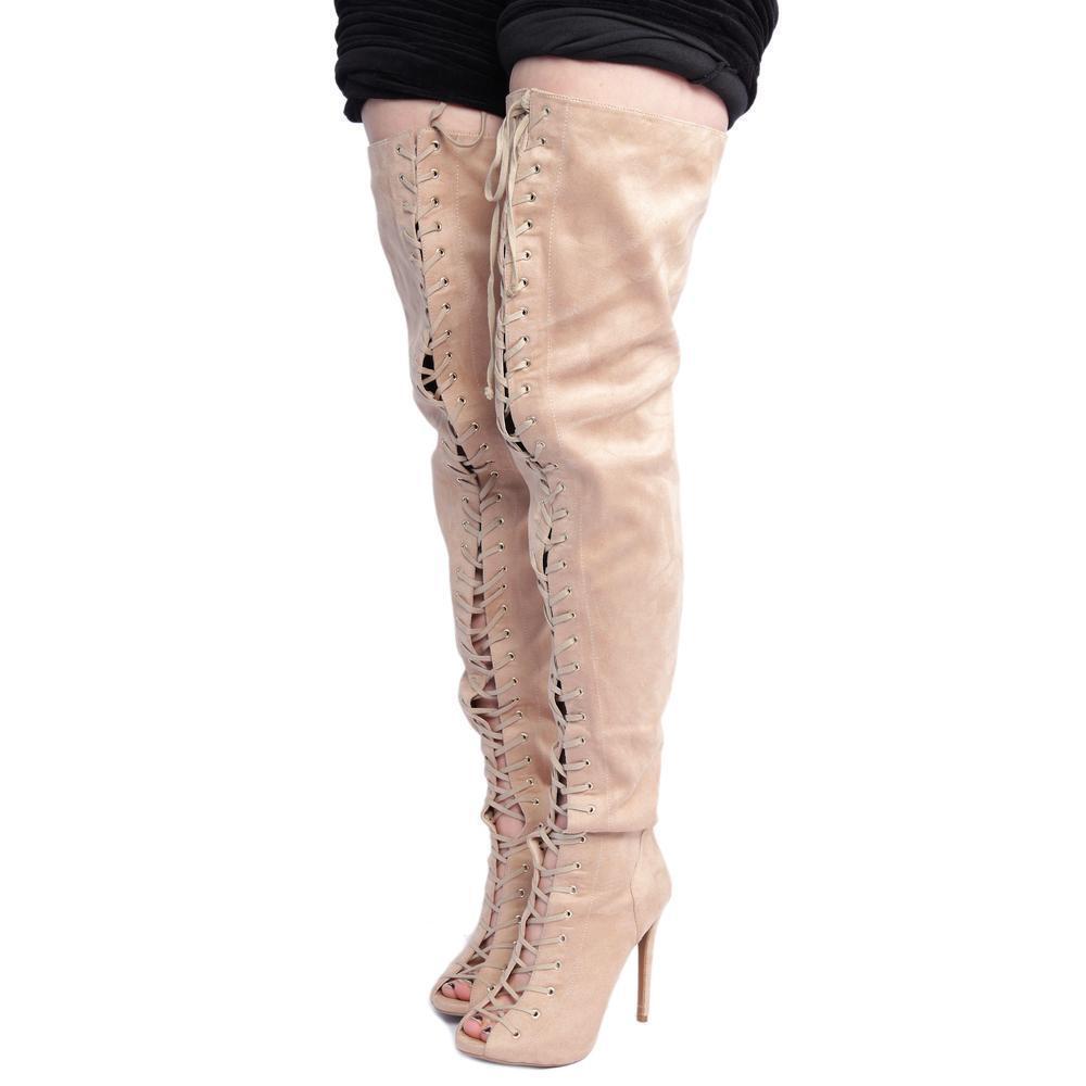 8 ZIGI Piarry Tan Peep Toe Over the Knee Boot NWOB 30   credch boots hot