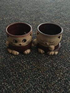 Vintage-J-S-N-Y-Cat-Planter-Set