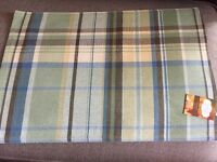 Perfect Setting Plaid Check Placemats Sage Green Yellow Brown Blue Set 4