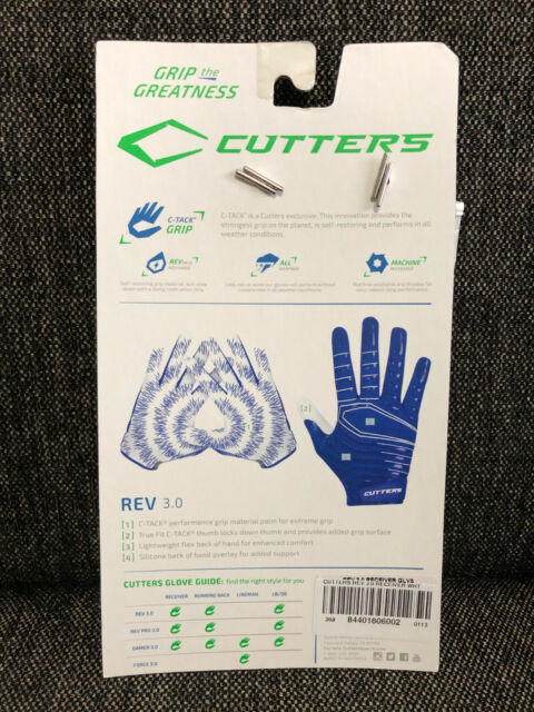 Cutters S252 Rev 3.0 Ultimate Grip Sports Gloves White Adult Large for sale online