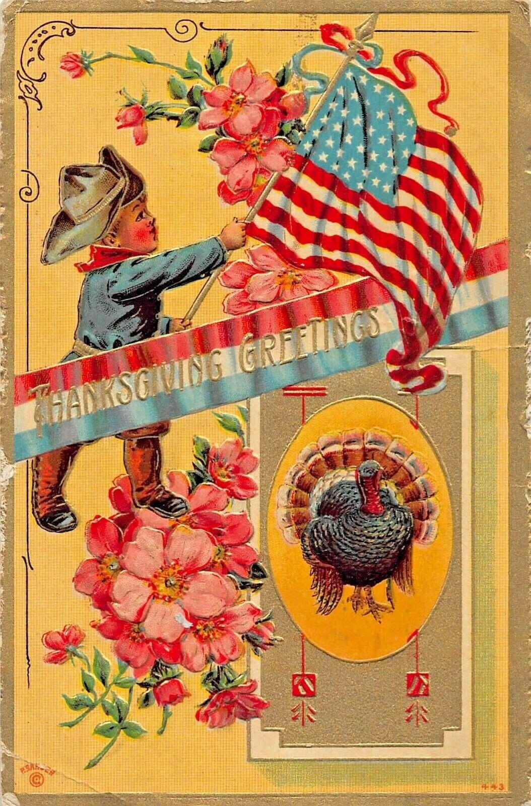 PATRIOTIC THANKSGIVING~LITTLE BOY SOLDIER WAVING FLAG-EMBOSSED 1911 POSTCARD