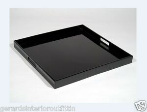 Image Is Loading Custom Xl Black Lacquer Ottoman Tray With Handles