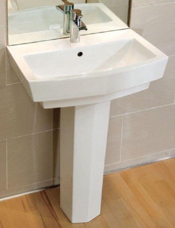 Cg Baño Aseo 600mm vanidad lavabo fregadero Completo Pedestal enza 1th Sin Tap