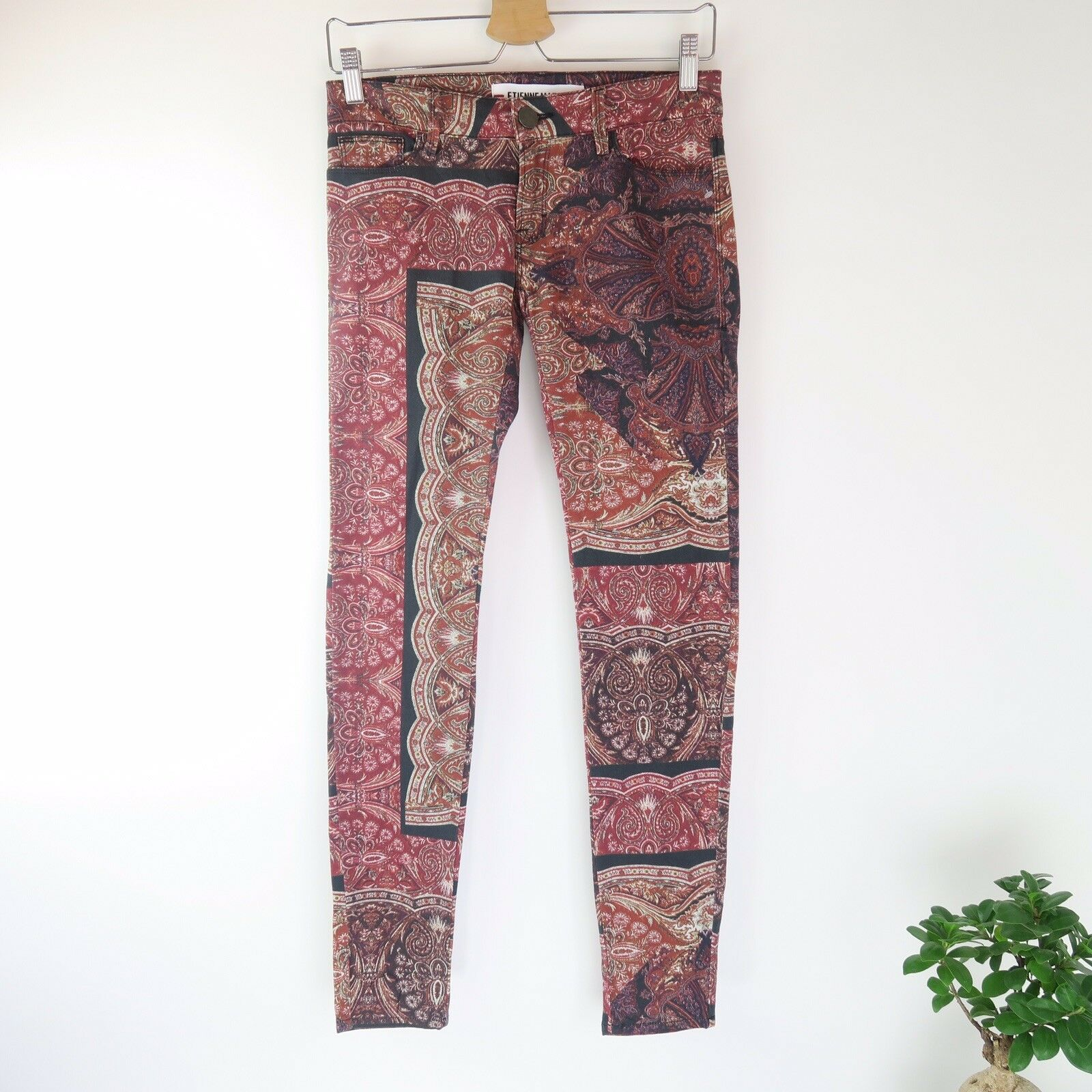 ETIENNE MARCEL Women's Size 25 Red Paisley Skinny Jeans New Without Tags