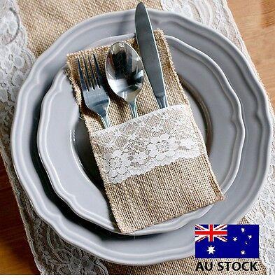 Hessian Burlap Lace Cutlery Holder Pouch Vintage Wedding Decoration