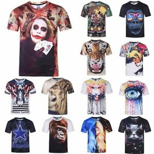 Men-039-s-3D-Animal-Tiger-Printed-T-shirts-Short-Sleeve-Funny-Tee-New-Casual-Tops