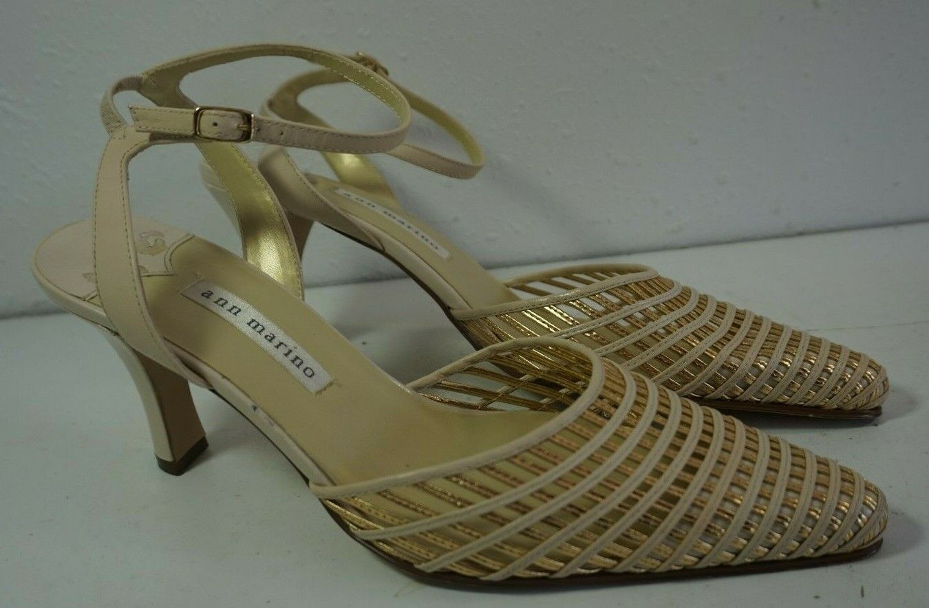 Ann Marino Beige Gold Woven Pointy Toe High Heel Shoes Sz 8.5 Ankle Strap