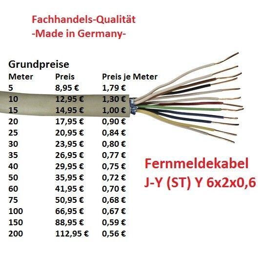 Fernmeldekabel Telefonkabel J-Y(ST)Y 6x2x0,6 grau -Fachhandelsqualität-