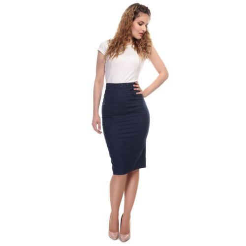 Collectif Vintage Talis Plain 1940s Pencil Skirt Sz 8-22 Navy Blue