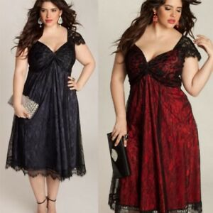11e2408c732 New Women Plus Size Sexy V Neck Lace Dress Loose Ladies GOTHIC ...