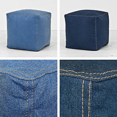 100% Cotton Denim Navy Blue Cube Footstool Seat Pouffe Bean Bag Beanbag Filled