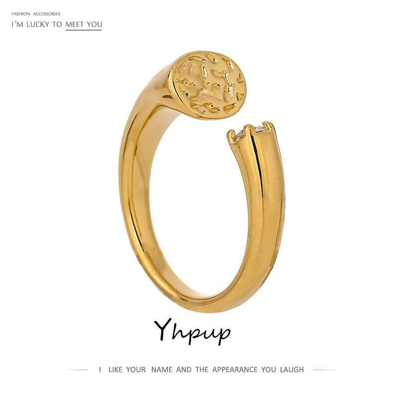 Yhpup Charm Golden Metal Round Opening Ring Delicate Cubic Zirconia Jewelry New