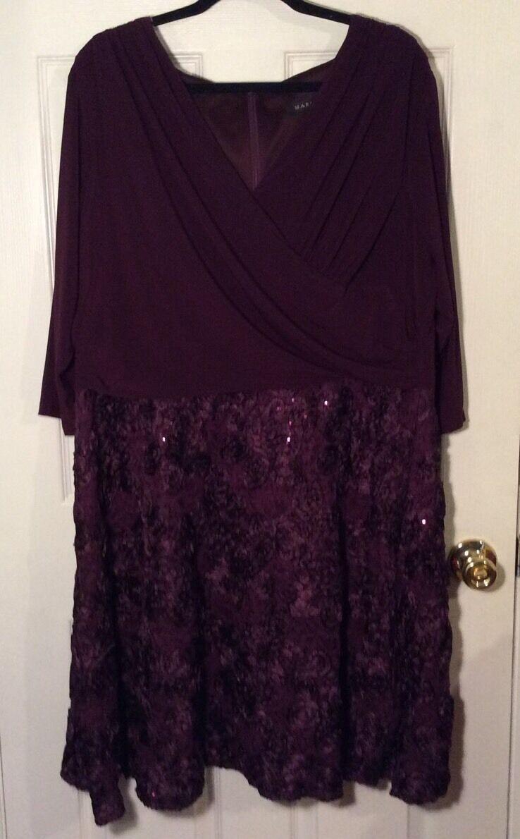 Marina Maroon Plus Größe 18W  Dress Sequined Swirl Rosatte, sublime V-Neck NEW