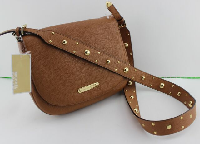Michael Kors Hayes Studded Large Messenger Leather Handbag Acorn for ... c19f4d9b65b9f