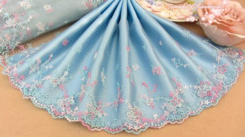 """6.5/""""*1Y Embroidered Tulle Lace Trim~Pink+Blue~Little Beauty~DIY//Doll//Dress~SALE~"""
