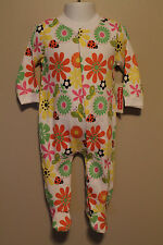 GIRLS 3/6 months footed sleeper flowers butterfly ladybug 1-piece bodysuit NWOT