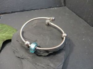 Huebscher-925-Silber-Armreif-Cham-Armspange-Blau-Kugel-Sterling-Modern-Elegant
