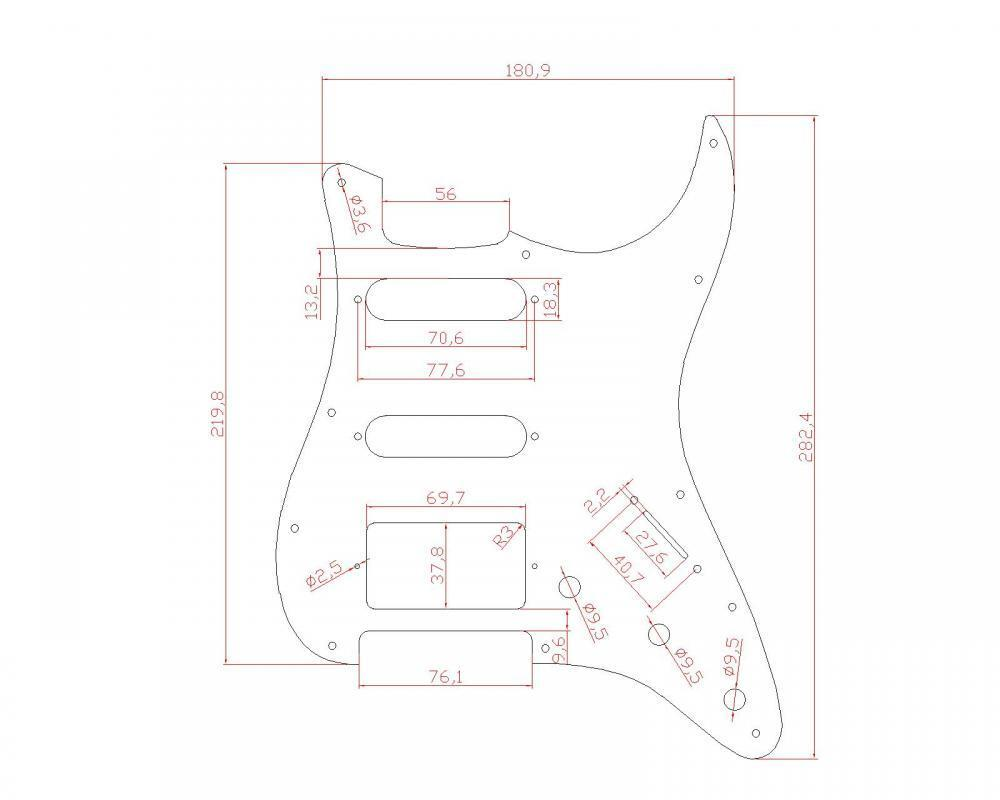 1 hss 3 ply electric guitar black white pickguard for