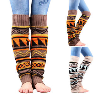 608d93d0d1c Women High Knee Socks Knitted Winter Leg Warmer Stockings Boot Socks ...