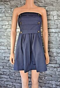 Women-039-s-Pretty-Blue-Denim-Sleeveless-Military-Bustier-Cotton-Party-Dress-Size-10