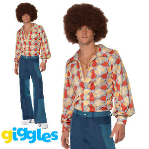 Adult Mens 1960s 1970s Costume Disco Hippie Hippy Flares Fancy Dress Outfit