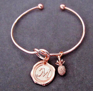 Rose gold Pineapple bangleRose gold initial stacking bracelrtrose