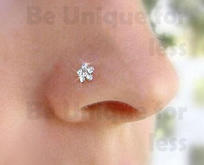 Surgical Steel Crystal Flower Nose Ring Nose Pin Piercing Bone End