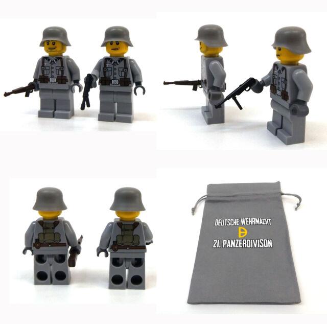 2 Stück Custom Figuren Deutsche Wehrmacht Soldaten aus original Lego® Teilen.