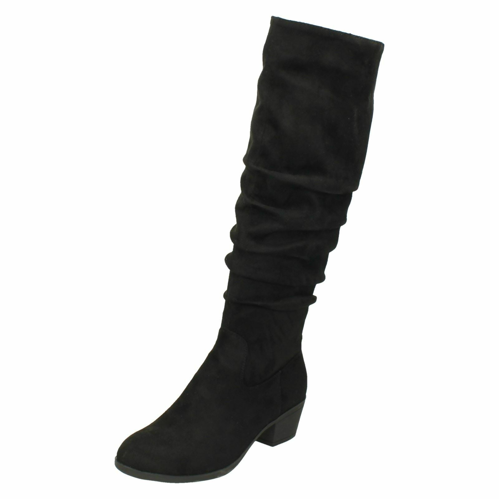 Ladies Spot On Wrinkled Knee High Boots F5R0879