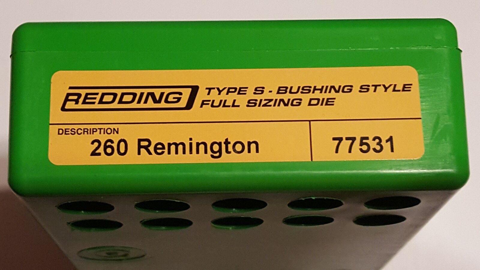 77531 rojoDING Tipo S Buje De Longitud Completa De Tamaño Die - 260 REMINGTON-totalmente Nuevo