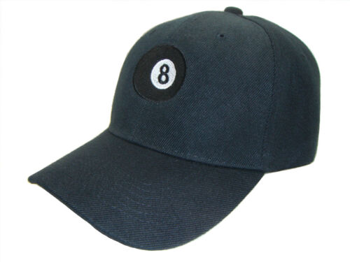 8 Ball Adjustable Curved Bill Baseball Cap Caps Hat Hats Black White Embroidery