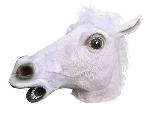 CAVALLO Bianco Gomma Mask Fancy Dress Costume VESTITO DI SCENA