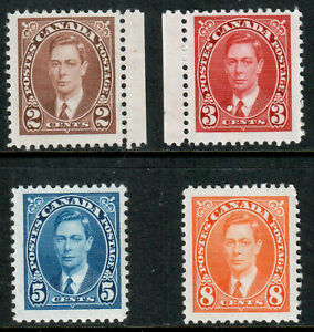 Canada-KGVI-1937-Definitives-SG358-359-361-362-Mint-Lightly-Hinged-MLH