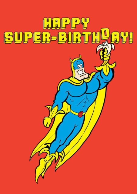 Dandy Bananaman Birthday Card Retro 1970 1980 Beano Dennis The
