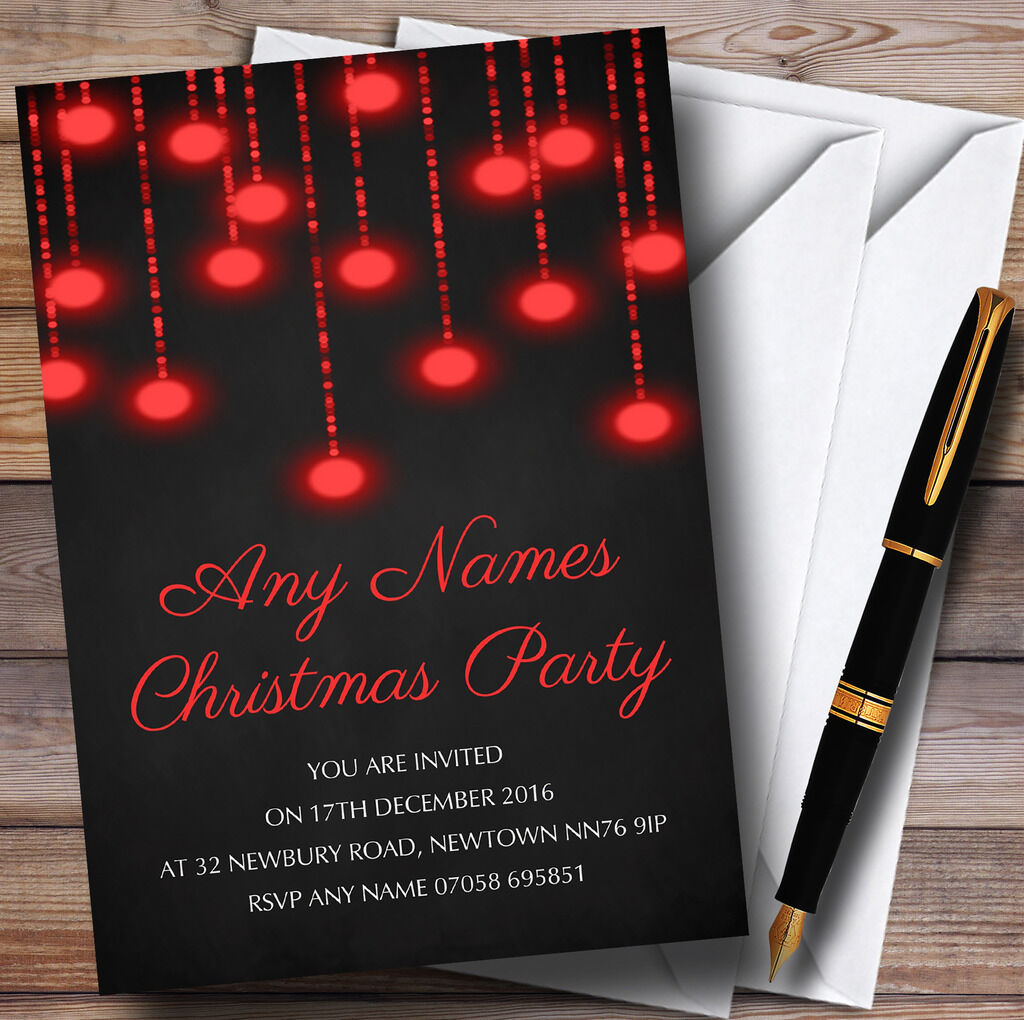rot Lights Chalk Effect Personalised Christmas Party Invitations